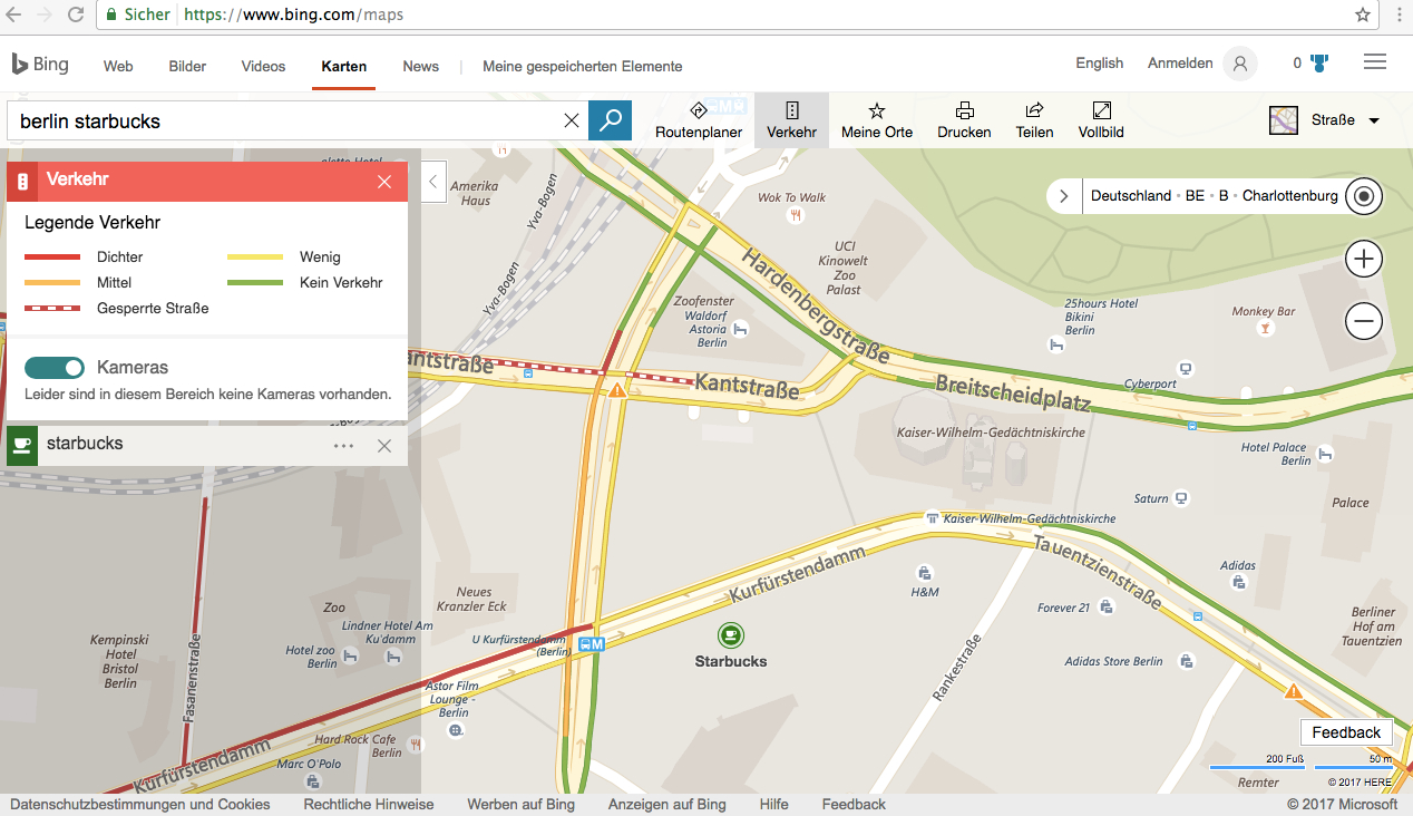 Bing bindet aktuelle Verkehrssituation in Local Pack-Suche ein