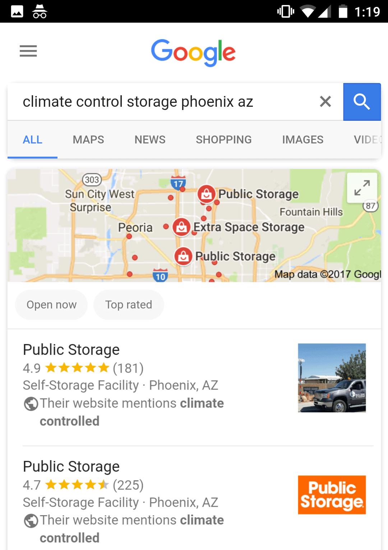 lokale Suchergebnisse mit Matching Keywords