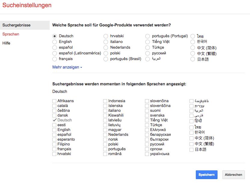 Einstellungen für die Google Suchergebnisse