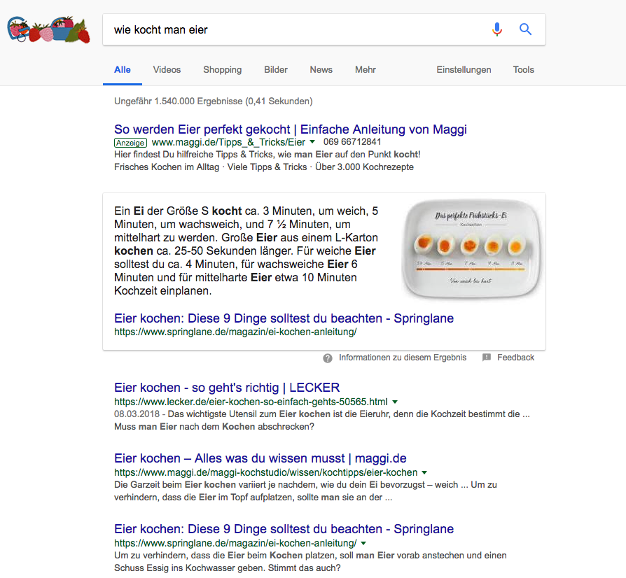 Featured Snippet von Google